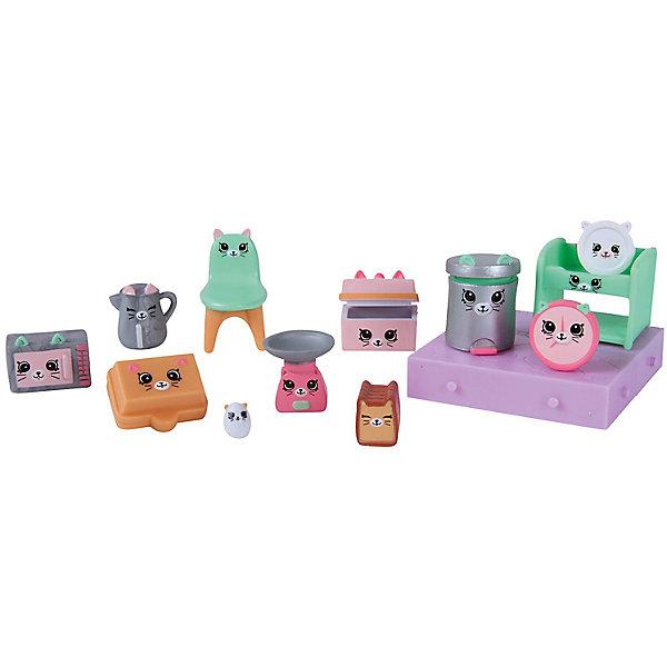 Игровой набор Moose Shopkins Счастливые места Кухня КиттиИгровые наборы с фигурками<br>Характеристики товара:<br><br>• возраст: от 5 лет;<br>• количество фигурок:  15 шт;<br>• материал: пластик;<br>• упаковка: фольгированный пакет;<br>• размер упаковки: 20х27,5х4 см.;<br>• вес: 230 гр.;<br>• наименование бренда, страна бренда: Moose (Мус), Австалия;<br>• страна изготовитель: Китай.<br><br>Набор для декора «Кухня Китти» Happy Places - комплект включает в себя фигурки из серии Petkins разных размеров и строительные блоки, которые являются одними из деталей дома, красочный каталог и волшебная коробочка с сюрпризом (3 секретные фигурки дополнительно). <br><br>Очаровательный комплект, включающий в себя эксклюзивные фигурки мебели и аксессуаров, с помощью которых малышка вовлечется в увлекательную и познавательную игру. Проявив дизайнерские способности и чувство вкуса, девочка самостоятельно сможет украсить кухню миловидными фигурками с изображением котенка.<br><br>Из маленьких пластиковых фигурок Petkins можно собирать большую коллекцию и придумывать различные интересные сюжеты для игры с ними. Отличное решение для развлечения с ребенком во время досуга.<br><br>Набор для декора «Кухня Китти» Happy Places,  Moose (Мус) можно купить в нашем интернет-магазине.<br>Ширина мм: 275; Глубина мм: 40; Высота мм: 200; Вес г: 230; Возраст от месяцев: 60; Возраст до месяцев: 2147483647; Пол: Женский; Возраст: Детский; SKU: 7143867;