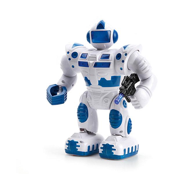Интерактивный игрушка Играем вместе Робот (свет, звук, движение)Роботы-игрушки<br>Характеристики:<br><br>• возраст: от 3 лет<br>• материал: пластик<br>• батарейки: 4xAA / LR6 1.5V (пальчиковые)<br>• наличие батареек: входят в комплект<br>• упаковка: картонная коробка блистерного типа<br>• размер упаковки: 29х22х13 см.<br>• вес: 730 гр.<br><br>Игрушка выполнена в виде космического робота с подвижными частями тела. Робот вооружён бластером, который во время игры светится, также мерцают некоторые части корпуса робота. Игрушка может перемещаться вперед на небольшие расстояния. Робот оснащен звуковым модулем, воспроизводит звуки и фразы.<br><br>Изделие выполнено из качественных экологически чистых материалов, прошедших сертификацию для производства детских игрушек.<br><br>Робота со светом и звуком можно купить в нашем интернет-магазине.<br>Ширина мм: 290; Глубина мм: 130; Высота мм: 220; Вес г: 730; Возраст от месяцев: 36; Возраст до месяцев: 84; Пол: Унисекс; Возраст: Детский; SKU: 7168151;