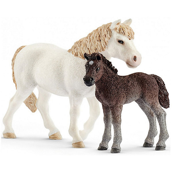 Schleich Коллекционные фигурки Schleich Лошади Кобыла пони и жеребенок игровые фигурки schleich игровая фигурка гановерская кобыла