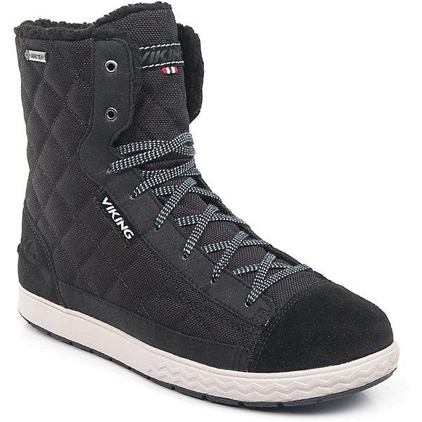 Ботинки Zip GTX Viking для девочкиБотинки<br>Характеристики товара:<br><br>• цвет: черный<br>• внешний материал: натуральный нубук, текстиль<br>• внутренний материал: полиэстер<br>• стелька: полиэстер<br>• подошва: EVA, натуральная резина<br>• сезон: зима<br>• мембранные <br>• температурный режим: от -25 до +5<br>• особенности модели: спортивный стиль<br>• застежка: шнурки, молния<br>• защита мыса <br>• подошва не скользит<br>• анатомические<br>• высокие<br>• страна бренда: Норвегия<br>• страна изготовитель: Вьетнам<br><br>Стильные мембранные ботинки для детей обеспечат комфорт ногам даже в сильный мороз. Модные ботинки от бренда Viking легко надеваются благодаря удобной застежке. Детские ботинки обеспечивают ногам тепло вследствие наличия мембраны. Эти ботинки Viking не скользят из-за особого дизайна подошвы.<br><br>Ботинки Zip GTX Viking (Викинг) для девочки можно купить в нашем интернет-магазине.<br>Ширина мм: 262; Глубина мм: 176; Высота мм: 97; Вес г: 427; Цвет: черный; Возраст от месяцев: 132; Возраст до месяцев: 144; Пол: Женский; Возраст: Детский; Размер: 35,39,38,37,36,34,33,32,31,30; SKU: 7168969;
