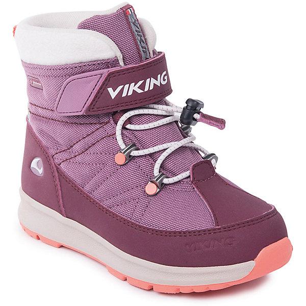 Ботинки Sokna GTX Viking для девочкиБотинки<br>Характеристики товара:<br><br>• цвет: розовый<br>• внешний материал: текстиль<br>• внутренний материал: полиэстер<br>• стелька: полиэстер<br>• подошва: натуральная резина<br>• сезон: зима<br>• мембранные <br>• температурный режим: от -25 до +5<br>• особенности модели: спортивный стиль<br>• застежка: липучки, шнурки<br>• защита мыса <br>• подошва не скользит<br>• анатомические<br>• высокие<br>• страна бренда: Норвегия<br>• страна изготовитель: Вьетнам<br><br>Мембранные ботинки для детей помогут обеспечить ногам тепло и сухость в холода. Эти мембранные ботинки Viking сделаны по новейшей технологии, обеспечивающей их высокое качество и износостойкость. Детские ботинки от Viking обработаны специальным составом, предотвращающим попадание влаги и грязи внутрь. Детские ботинки отличаются легкими материалами.<br><br>Ботинки Sokna GTX Viking (Викинг) для девочки можно купить в нашем интернет-магазине.<br>Ширина мм: 262; Глубина мм: 176; Высота мм: 97; Вес г: 427; Цвет: розовый; Возраст от месяцев: 24; Возраст до месяцев: 24; Пол: Женский; Возраст: Детский; Размер: 25,24,23,30,29,28,27,26; SKU: 7169315;