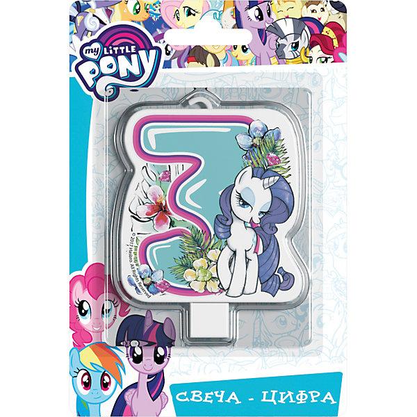 Росмэн Свеча для торта Росмэн My little Pony. Свеча-цифра 3 action свеча цифра для торта 3 года цвет голубой