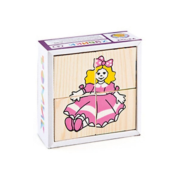 Томик Деревянные кубики Томик Игрушки, 4 шт развивающие игрушки стеллар кубики животные 4 шт