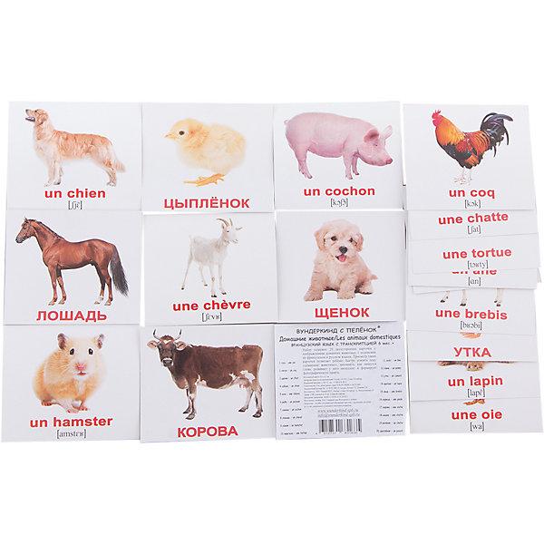 Вундеркинд с пелёнок Набор обучающих мини-карточек Вундеркинд с пелёнок Les animaux domestiques/Домашние животные, двухсторонний 20 штук les animaux