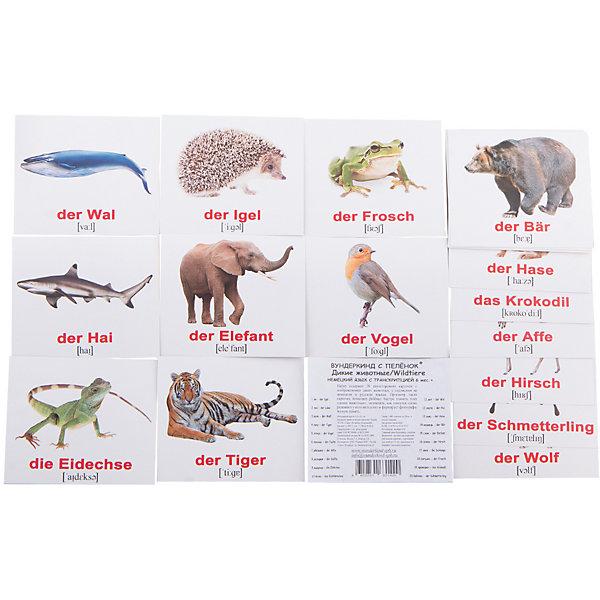 Вундеркинд с пелёнок Набор обучающих мини-карточек Wildtiere/Дикие животные, двухсторонний 20 штук