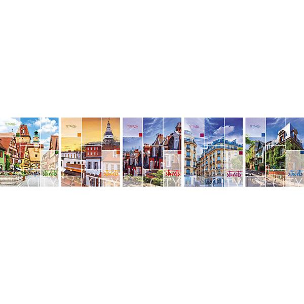 Комплект тетрадей в клетку АппликА Улицы Европы 5 шт, 48 листов с полямиТетради<br>Характеристики товара:<br><br>• количество тетрадей: 5;<br>• количество листов: 48;<br>• формат: А5;<br>• возраст: от 3 лет;<br>• материал: бумага, офсет;<br>• обложка: мелованный картон;<br>• размер упаковки:18,3х20,2х2 см;<br>• страна-производитель: Россия.<br><br>Набор тетрадей «Улицы Европы» отличается высоким качеством и приятным дизайном. В комплект входят 5 общих тетрадей 48 листов. Все тетради разлинованы в клетку и дополнены контрастными красными полями. Обложка изготовлена из мелованного картона, оформленного вставками из УФ лака. Внутренние листы выполнены из плотной офсетной бумаги. На обложках изображены красивейшие пейзажи улиц городов Европы.<br><br>Комплект общих тетрадей в клетку из 5шт., Ассорти Улицы Европы  - 48 листов формата А5 с полями, КТС-ПРО можно купить в нашем интернет-магазине.<br>Ширина мм: 202; Глубина мм: 183; Высота мм: 20; Вес г: 565; Возраст от месяцев: 36; Возраст до месяцев: 1188; Пол: Унисекс; Возраст: Детский; SKU: 7185403;