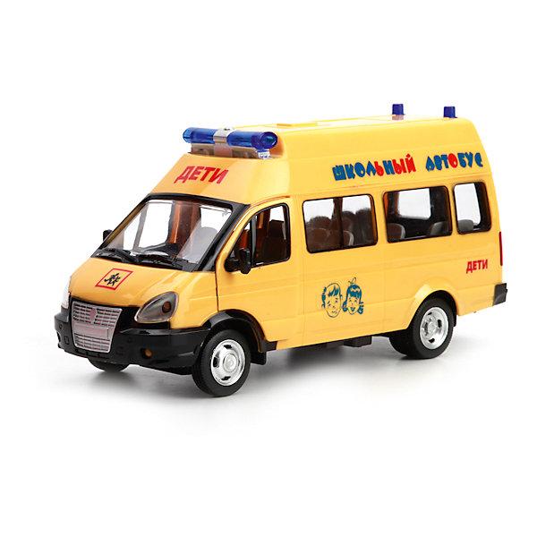 Инерционная машинка Технопарк Газель. Школьный автобус, свет звукМашинки<br>Характеристики товара:<br><br>• возраст: от 3 лет;   <br>• пол: для мальчиков;<br>• вес: 420 гр.;<br>• из чего сделана игрушка (состав): пластик;<br>• размер упаковки: 25х11х14 см.;<br>• упаковка: картонная коробка;<br>• страна обладатель бренда: Россия.<br><br>Машина Газель выполнена высоко детализированной моделью одноименной машины российской марки ГАЗ в дизайне - школьный автобус.<br><br>Кузов автомобиля выкрашен в жёлтый цвет, в дизайне предусмотрены отличительные знаки и специализированные надписи: «Дети» и «Школьный автобус». На крыше автомобиля установлены сигнальные огни.Игрушка снабжена инерционным механизмом движения, благодаря чему способна проезжать приличные расстояния, если её слегка откатить назад и отпустить. У автомобиля открывается водительская дверь и двери салона.<br><br>Звуковые и световые эффекты сделают игровой процесс более зрелищным и реалистичным: у автомобиля светятся фары и проблесковые маячки, воспроизводится звук сигнала и заводящегося двигателя, играет музыка.<br><br>Машину школьный актобус можно купить в нашем интернет-имагазине.<br>Ширина мм: 25; Глубина мм: 11; Высота мм: 14; Вес г: 420; Возраст от месяцев: 36; Возраст до месяцев: 84; Пол: Унисекс; Возраст: Детский; SKU: 7185699;