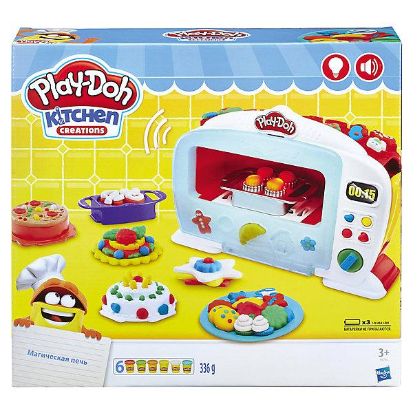 Набор пластилина Hasbro Play-Doh Чудо печьНаборы для лепки игровые<br>Характеристики товара:<br><br>• возраст: от 3 лет;<br>• материал: пластик;<br>• в комплекте: духовой шкаф, 5 насадок, аксессуары, 6 баночек пластилина;<br>• тип батареек: 3 батарейки ААА;<br>• наличие батареек: в комплект не входят;<br>• размер упаковки: 35,6х33х8,1 см;<br>• вес упаковки: 1,542 кг;<br>• страна производитель: Китай.<br><br>Игровой набор Play-Doh «Чудо-печь» позволит вылепить из пластилина вкусные кулинарные шедевры, а затем запечь их как в настоящей духовке. Мини-печка оснащена световыми и звуковыми эффектами, имитирующими работу духовки. А после приготовления раздается звуковой сигнал, оповещающий о завершении готовки. В наборе также имеются формочки для приготовления вкусных десертов, пирожных, пирожков и много другого. <br><br>Пластилин Play-Doh выполнен из натуральных компонентов и безопасен для ребенка. Он хорошо разминается, не прилипает к рукам, не пачкает одежду. Набор способствует развитию творческих способностей, усидчивости, мелкой моторики рук.<br><br>Игровой набор Play-Doh «Чудо-печь» можно приобрести в нашем интернет-магазине.