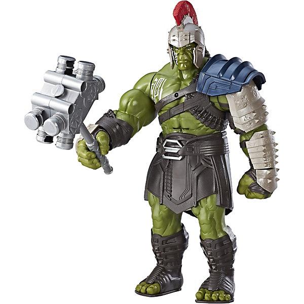 Интерактивная фигурка Marvel Avengers Титаны ХалкГерои комиксов<br>Характеристики:<br><br>• возраст: от 4 лет;<br>• материал: пластик;<br>• высота фигуры: 35 см;<br>• в наборе: игрушка, аксессуары;<br>• тип батареек: 3хAA;<br>• наличие батареек: в комплекте;<br>• вес упаковки: 1,08 кг.;<br>• размер упаковки: 38х28х11 см;<br>• страна бренда: США.<br><br>Интерактивная фигурка Халка от Hasbro выглядит в точности как персонаж фильма о вселенной супергероев Marvel «Тор: Рогнарёк». Халк экипирован в форму для поединка, на голове съемный шлем, в руке молот. Игрушка умеет бить молотом, имеются световые эффекты и озвучка на английском языке.<br><br>Большая фигура Халка отлично детализирована, лицо прорисовано. Фигура может самостоятельно стоять на ровной поверхности. Игрушка подойдет для сюжетных игр и станет ценной частью коллекции предметов по комиксам Marvel.<br><br>Интерактивную фигурку Халка можно купить в нашем интернет-магазине.<br>Ширина мм: 102; Глубина мм: 267; Высота мм: 375; Вес г: 1020; Возраст от месяцев: 48; Возраст до месяцев: 2147483647; Пол: Женский; Возраст: Детский; SKU: 7186023;