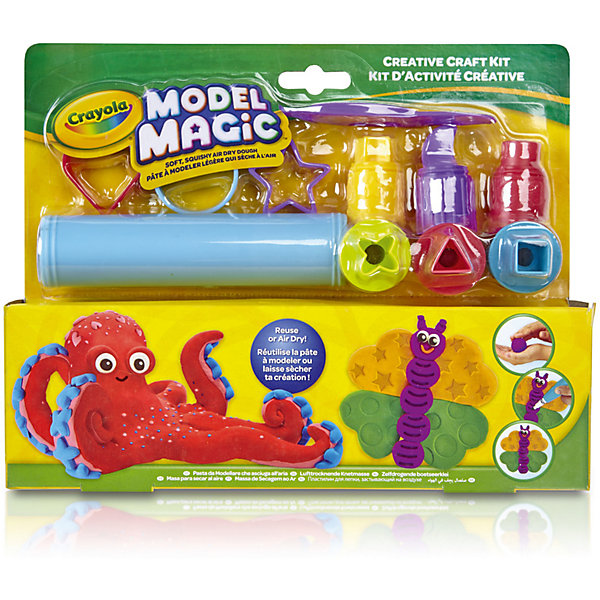 Маленький набор пластилина Crayola, с инструментамиНаборы для лепки игровые<br>Характеристики товара:<br><br>• возраст: от 4 лет;<br>• упаковка: картонная коробка блистерного цвета;<br>• комплект: пластилин разных цветов, трубочка, формочки, насадки различной формы;<br>• размеры упаковки: 25х20х5 см.;<br>• вес упаковки: 280 гр.; <br>• материал: пластилин, пластик;<br>• бренд: Crayola (Крайола);<br>• страна-производитель: США.<br><br>Маленький набор для лепки «Model Magic» от американского производителя Crayola поможет вашему малышу проявить фантазию и весело провести досуг, создавая различные фигирку с помощью инструментов, входящих в комплект.<br><br>С помощью насадок разной формы и размера можно будет лепить отдельные части будущих фигурок. Пластилин можно раскатывать и смешивать цвета, создавая новые оттенки.<br><br>Увлекательный набор станет отличным подарком для девочек и мальчиков старше 4 лет. Игры с пластилином способствуют развитию мелкой моторики, координации движений, усидчивости, воображения и множеству других полезных навыков. <br><br>Товары для творчества от американского производителя Crayola изготовлены из безопасных для здоровья ребенка материалов, прошедших соответствие европейским стандартам качества. <br><br>Маленький набор для лепки «Model Magic» Crayola (Крайола) можно купить в нашем интернет-магазине.<br>Ширина мм: 50; Глубина мм: 245; Высота мм: 190; Вес г: 280; Возраст от месяцев: 48; Возраст до месяцев: 2147483647; Пол: Унисекс; Возраст: Детский; SKU: 7187850;