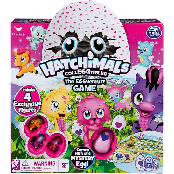 Настольная игра Hatchimals + 4 коллекционные фигуркиНастольные игры ходилки<br>Характеристики:<br><br>• возраст: от 5 лет<br>• в наборе: игровое поле с аксессуарами, кубик, 3 коллекционные фигурки Hatchimals (Хетчималс), 1 фигурка-сюрприз Hatchimals (Хетчималс) в яйце<br>• количество игроков: от2 до 4 человек<br>• материал: пластик, картон<br>• упаковка: картонная коробка<br><br>Настольная игра Hatchimals (Хетчималс) с большим красочным игровым полем сочетает в себе классическую игру-бродилку и игру на запоминание memory.<br><br>На игровом поле нарисована прекрасная страна с различными местностями - сад, ферма, джунгли, река, саванна, лес, полярный рай и другими. По ним гуляют волшебные животные с маленькими крылышками за спиной, а по центру игрового поля свои ветви раскинуло большое дерево. Игроки по очереди бросают кубик, передвигаются по полю на соответствующее количество ходов и составляют пары из карточек.<br><br>Игра упакована в коробку в красивую коробку, на которой изображены животные, зеленые листья и яйцо, выступающее за верхний край коробки. В центре коробки расположены 4 небольших углубления, в которых видны 3 эксклюзивные фигурки Hatchimals (Хетчималс) и 1 непрозрачное яйцо с фигуркой Hatchimals (Хетчималс) (узнать заранее, какая фигурка вам попадется, невозможно).<br><br>Настольную игру Hatchimals + 4 коллекционные фигурки можно купить в нашем интернет-магазине.<br>Ширина мм: 278; Глубина мм: 269; Высота мм: 68; Вес г: 574; Возраст от месяцев: 60; Возраст до месяцев: 84; Пол: Унисекс; Возраст: Детский; SKU: 7188920;