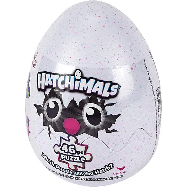 Игра Hatchimals Пазл 46 элементов в яйцеПазлы для малышей<br>Характеристики:<br><br>• возраст: от 4 лет<br>• количество элементов: 46 шт.<br>• размер готового пазла: 31х38 см.<br>• материал: картон<br>• упаковка: пластиковое яйцо, может использоваться как контейнер для хранения.<br>• высота упаковки:15 см.<br><br>Фигурный пазл Hatchimals (Хетчималс) – это удивительный подарок от компании Spin Master для тех, кого покорили забавные питомцы Hatchimals (Хетчималс) и кто обожает решать головоломки.<br><br>Пазл состоит из 46 элементов, собрав которые, ребенок получит яркую картинку с изображением одного из любых питомцев Hatchimals (Хетчималс). Но кто именно это будет, останется сюрпризом до последнего момента. Производители позаботились о сохранении интриги, поместив детали головоломки в большое пластиковое яйцо.<br><br>Все элементы пазла выполнены из плотного картона, они не сгибаются, не ломаются и могут быть использованы много раз. Детали тщательно вырезаны, имеют ровные края, поэтому сложенная картинка выглядит сплошной и гладкой. Печать выполнена качественно, изображение имеет оптимальное количество цветов.<br><br>Оригинальная упаковка - пластиковое яйцо - делает игрушку отличным подарком на любой праздник. Кроме того, в нем будет удобно хранить элементы пазла.<br><br>Игру Hatchimals Пазл 46 элементов в яйце можно купить в нашем интернет-магазине.