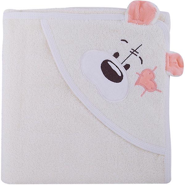 Полотенце с капюшоном Мишки Fun Dry, Twinklbaby, светло-бежевый с персиковыми ушками