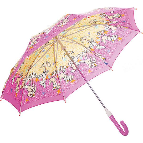 Зонт-трость Zest Зайчики со светодиодами, розовыйДетские зонты<br>Красочный детский зонт со светодиодами (на кончиках спиц и на куполе в центре), трость, механика, 8 спиц, купол 78 см, материал купола полиэстер, ручка зонта из пластика, материал каркаса - сталь. Концы спиц зонтика прикрыты специальными колпачками-лампочками. ВЕТРОУСТОЙЧИВАЯ КОНСТРУКЦИЯ. Гарантия 6 месяцев, срок службы 5 лет. Необходимы 2 батарейки типа ААА<br>Ширина мм: 690; Глубина мм: 5; Высота мм: 5; Вес г: 280; Цвет: фиолетовый; Возраст от месяцев: -2147483648; Возраст до месяцев: 2147483647; Пол: Унисекс; Возраст: Детский; SKU: 7189486;