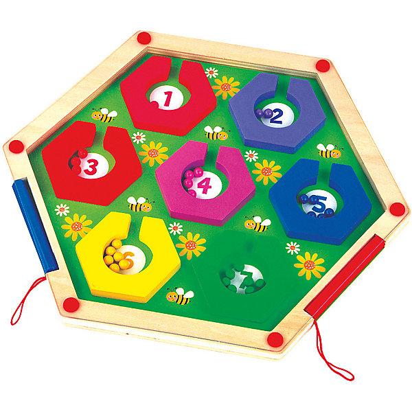 Магнитный лабиринт Mapacha ПчёлкиДеревянные игрушки<br>Характеристики товара:<br><br>• возраст: от 3 лет;<br>• комплектация: игровая доска, 2 магнитных карандаша и шарики;<br>• материал: дерево, магнит;<br>• размер: 30х2х26;<br>• вес: 483 гр.<br><br>Магнитный лабиринт «Пчелки» увлекательная и развивающая игра для ребенка. В набор входит игровая доска, 2 магнитных карандаша и шарики. Задача ребёнка - с помощью магнитных карандашей разложить шарики по цветам в соответствующие ячейки. Количество шариков в ячейках должно соответствовать цифрам внутри ячеек. Набор выполнен из натуральной древесины с отшлифованной поверхностью. <br><br>Игра способствует развитию у ребенка мелкой моторики рук и логического мышления, позволяя им при этом еще и научиться считать.<br><br>Магнитный лабиринт «Пчелки» можно купить в нашем интернет-магазине.<br>Ширина мм: 300; Глубина мм: 20; Высота мм: 260; Вес г: 483; Возраст от месяцев: -2147483648; Возраст до месяцев: 2147483647; Пол: Унисекс; Возраст: Детский; SKU: 7190062;