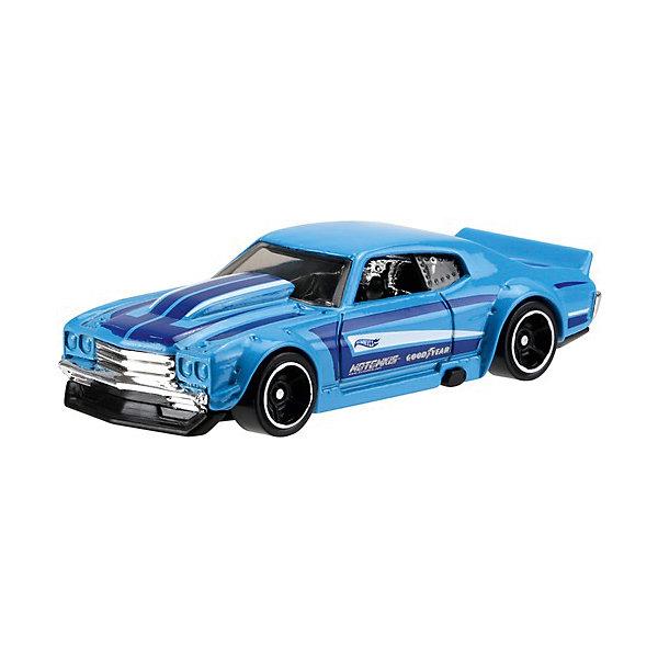 Базовая машинка Mattel Hot Wheels, 70 Chevy ChevelleПопулярные игрушки<br>Характеристики:<br><br>• возраст: от 3 лет;<br>• материал: металл, пластмасса;<br>• вес упаковки: 30 гр.;<br>• размер упаковки: 11х4х11 см;<br>• тип упаковки: блистерный;<br>• страна бренда: США.<br><br>Машинка Hot Wheels от Mattel входит в группу моделей базовой коллекции. Миниатюры этой серии изображают реальные автомобили, спорткары, фургоны, мотоциклы в масштабе 1:64, а также модели с собственным оригинальным дизайном. Собрав свою линейку машинок, ребенок сможет устраивать заезды, гонки и меняться экземплярами с друзьями.<br><br>Монолитные элементы игрушки увеличивают ее прочность. Падение и столкновение с твердыми предметами во время игр не отражается на внешнем виде и ходе машинки. Кузов отчетливо детализирован, покрыт стойкими насыщенными красками. Колеса легко вращаются вокруг своей оси.<br><br>Игрушка выполнена из качественных материалов, сертифицированных по стандартам безопасности для использования детьми.<br><br>Машинку Hot Wheels из базовой коллекции можно купить в нашем интернет-магазине.<br>Ширина мм: 110; Глубина мм: 45; Высота мм: 110; Вес г: 30; Возраст от месяцев: 36; Возраст до месяцев: 96; Пол: Мужской; Возраст: Детский; SKU: 7191311;