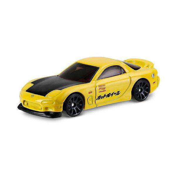 Базовая машинка Mattel Hot Wheels, 95 Mazda RX-7Популярные игрушки<br>Характеристики:<br><br>• возраст: от 3 лет;<br>• материал: металл, пластмасса;<br>• вес упаковки: 30 гр.;<br>• размер упаковки: 11х4х11 см;<br>• тип упаковки: блистерный;<br>• страна бренда: США.<br><br>Машинка Hot Wheels от Mattel входит в группу моделей базовой коллекции. Миниатюры этой серии изображают реальные автомобили, спорткары, фургоны, мотоциклы в масштабе 1:64, а также модели с собственным оригинальным дизайном. Собрав свою линейку машинок, ребенок сможет устраивать заезды, гонки и меняться экземплярами с друзьями.<br><br>Монолитные элементы игрушки увеличивают ее прочность. Падение и столкновение с твердыми предметами во время игр не отражается на внешнем виде и ходе машинки. Кузов отчетливо детализирован, покрыт стойкими насыщенными красками. Колеса легко вращаются вокруг своей оси.<br><br>Игрушка выполнена из качественных материалов, сертифицированных по стандартам безопасности для использования детьми.<br><br>Машинку Hot Wheels из базовой коллекции можно купить в нашем интернет-магазине.<br>Ширина мм: 110; Глубина мм: 45; Высота мм: 110; Вес г: 30; Возраст от месяцев: 36; Возраст до месяцев: 96; Пол: Мужской; Возраст: Детский; SKU: 7191342;