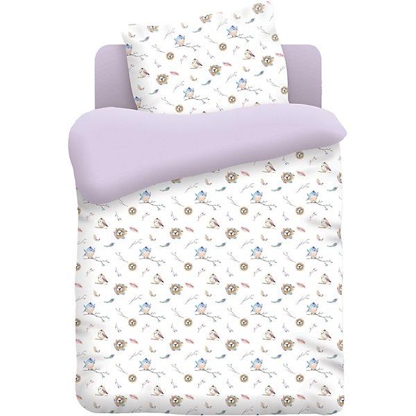 Непоседа Детское постельное белье 3 предмета Непоседа Птенцы, лиловый постельное белье 1 5 спальное непоседа тролли счастливая розочка 1 5 спальное 3 предмета