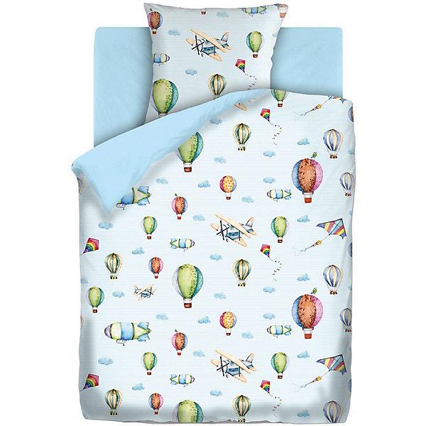 Непоседа Детское постельное белье 1,5 сп.  Аэропланы, голубой
