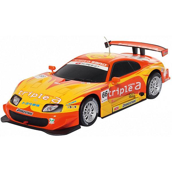 Радиоуправляемая машина MJX Toyota Supra Super GT500, 1:20 (желтая)Радиоуправляемые машины<br>Характеристики:<br><br>• тип игрушки: машинка;<br>• возраст: от 8 лет;<br>• размер: 35x15х16 см;<br>• вес: 130 гр;<br>• масштаб: 1:20;<br>• время зарядки: 60 мин;<br>• питание машины: 3.6V 600 mAh (аккумулятор);<br>• питание пульта: 9V типа «Крона»;<br>• рабочая частота: 27.40 мГц;<br>•  привод: задний;<br>• комплектация:  машина, пульт управления, зарядное устройство, аккумулятор;<br>• упаковка: картонная коробка блистерного типа;<br>• материал: пластик;<br>• бренд: MJX.<br><br>Машина Toyota Supra Super GT500 1/20 - масштабная радиоуправляемая модель спортивного автомобиля в процентном соотношении с оригинальной моделью 1:20. Высокая детализация игрушки, скорость до 12 километров в час и дистанция управления до 15 метров дадут возможность почувствовать маневренность и легкую управляемость автомобиля. <br><br>Модель имеет четыре направления движения - вперед, назад, вправо и влево, работающие передние и задние фары, обладает регулятором прямого хода. 4 скорости движения вперёд и 3 скорости при движении назад позволят вам выбрать оптимальный скоростной режим, а крепкий качественный пластиковый корпус гарантирует долгую жизнь радиоуправляемой модели. <br><br>Модель предназначена для игры как внутри помещения, так и на улице при езде на ровных поверхностях. Реалистичная и красивая радиоуправляемая модель доставит радость не только ребенку, но и взрослому.<br><br>Машину Toyota Supra Super GT500 1/20 можно купить в нашем интернет-магазине.<br>Ширина мм: 350; Глубина мм: 150; Высота мм: 160; Вес г: 130; Возраст от месяцев: 96; Возраст до месяцев: 2147483647; Пол: Мужской; Возраст: Детский; SKU: 7193441;