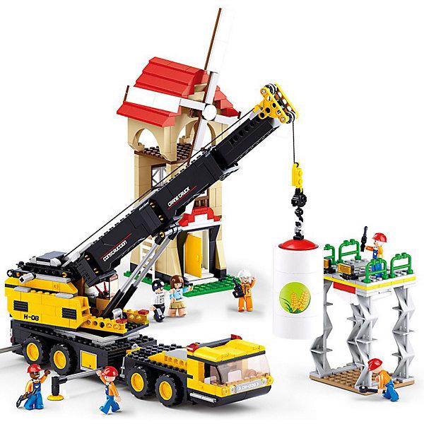 Конструктор Sluban Город Автокран, 767 деталейПластмассовые конструкторы<br>Характеристики:<br><br>• тип игрушки: конструктор;<br>• возраст: от 6 лет;<br>• комплектация: детали конструктора, 8 фигурок, подарочный брелок, инструмент для разборки, инструкция;<br>• количество деталей: 767 шт;<br>•  вес: 1 кг;<br>• размер: 42x9x62 см;<br>• тип упаковки: картонная коробка;<br>• материал: пластик;<br>• бренд: Sluban.<br><br>Конструктор пластмассовый «Город: Автокран», Sluban позволяет ребенку собрать игровую модель для веселой игры. Набор состоит из 767 пластиковых деталей. Большое количество разнообразных серий позволяет ребенку создавать целые города с развитой инфраструктурой, проводить полномасштабные военные операции, сражаться в море с пиратами и придумывать сказки.<br><br>Набор позволяет собрать телескопический подъемный кран и множество других конструкций. После сборки конструктора перед ребенком развернется картина настоящей стройки здания мельницы. Кран поднимает в воздух мельничный винт, а рабочие контролируют процесс. Каждый из игрушечных человечков имеет свою профессию - здесь есть и прораб, и бурильщик, и водитель подъемного крана. Каждый из них одет в спецкостюм и имеет каску на голове.<br><br>Практически все элементы конструкций функциональны, например, подъемный механизм крана может складываться наподобие трубки телескопа. Помимо всех этих замечательных элементов, в наборе имеется подарочный брелок, который ребенок сможет вручить кому-нибудь из своих друзей, а также подробная инструкция по сборке этого довольно сложного, но очень интересного конструктора.<br><br>Конструктор пластмассовый «Город: Автокран», Sluban можно купить в нашем интернет-магазине.<br>Ширина мм: 420; Глубина мм: 90; Высота мм: 620; Вес г: 1000; Возраст от месяцев: 72; Возраст до месяцев: 2147483647; Пол: Мужской; Возраст: Детский; SKU: 7193911;