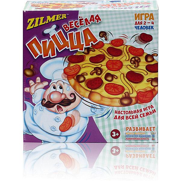 Настольная игра Zilmer Веселая пиццаНастольные игры для всей семьи<br>Характеристики товара:<br><br>• возраст: от 3 лет;<br>• размер упаковки: 27х27х11 см.;<br>• состав: пластик;<br>• упаковка: картонная каробка;<br>• вес в упаковке: 480 гр.;<br>• бренд, страна: Zilmer, Китай;<br>• страна-производитель: Китай.<br><br>Настольная игра для детей и всей семьи  «Весёлая пицца» от Zilmer - это увлекательная настольная игра отлично подойдет для веселого развлечения на празднике или досуге.<br><br>Этот повар - настоящий профессионал в приготовлении пиццы! И он с радостью поделится своими навыками с вами! Вам нужно просто кидать кость с изображением ингредиентов. Тот ингредиент, который выпадет вам, следует положить на пиццу. Но будьте аккуратны! Повар не должен уронить пиццу!<br><br>Игра способствует развитию мелкой моторики, логического мышления и коммуникабельности. Игра для 2-4 человек.<br><br>Настольную игру для детей и всей семьи  «Весёлая пицца» от Zilmer можно купить в нашем интернет-магазине.<br>Ширина мм: 265; Глубина мм: 265; Высота мм: 110; Вес г: 480; Возраст от месяцев: 36; Возраст до месяцев: 2147483647; Пол: Унисекс; Возраст: Детский; SKU: 7194098;