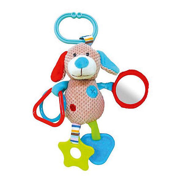 Игрушка-подвеска Жирафики Собачка БиллиИгрушки для новорожденных<br>Характеристики товара:<br><br>• возраст: от 0 года;<br>• размер упаковки: 23,5х5х16 см.;<br>• состав: текстиль, пластик;<br>• упаковка: блистер;<br>• вес в упаковке: 130 гр.;<br>• бренд, страна: Жирафики, Россия;<br>• страна-производитель: Китай.<br><br>Подвеска с зеркальцем, прорезывателями и погремушками «Собачка Билли» от бренда «Жирафики» отлично подойдет для коляски или кроватки. Также ее можно снять в любой момент, чтобы ребенок смог поиграть с песиком, держа его в руках. Эта подвеска оснащена зеркальцем, прорезывателями и погремушками, которые сделают игру малыша интересной и полезной. <br><br>Игрушка сделана из безопасных материалов, которые не вызовут у ребенка аллергии и раздражения.<br><br>Гладкие, ворсистые и вязаные ткани использованы при создании элементов игрушки с целью развития тактильных ощущений малыша. <br><br>Подвеску с зеркальцем, прорезывателями и погремушками «Собачка Билли», Жирафики можно купить в нашем интернет-магазине.<br>Ширина мм: 235; Глубина мм: 50; Высота мм: 310; Вес г: 130; Возраст от месяцев: 1; Возраст до месяцев: 2147483647; Пол: Унисекс; Возраст: Детский; SKU: 7195912;