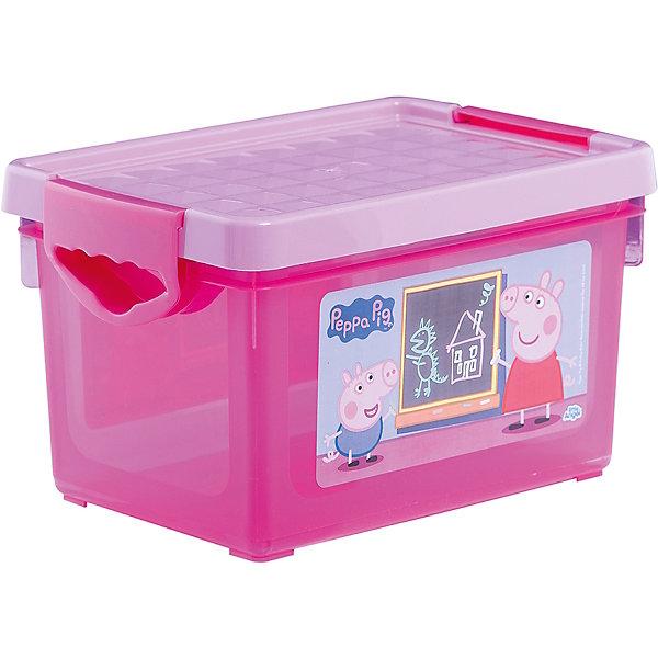 Ящик для хранения игрушек Little Angel Свинка Пеппа, 5,1 л. (розовый)Ящики для игрушек<br>Характеристики:<br><br>• принт: Свинка Пеппа<br>• материал: полипропилен<br>• объем: 5,1 л.<br>• размер: 27,2х18,4х16,2 см.<br>• вес: 366 гр.<br><br>С ящиком для хранения мелочей «Свинка Пеппа» игрушкам, канцелярским принадлежностям и других важным мелочам всегда найдется место. А эксклюзивный декор с любимыми героями, несомненно, станет украшением детской комнаты.<br><br>Ящик плотно закрывается надежной крышкой с привлекательной текстурой. Удобные ручки позволят легко перемещать ящик.<br><br>При покупке нескольких ящиков предусмотрена возможность штабелирования их друг на друга.<br><br>Детский ящик для хранения мелочей Свинка Пеппа 5,1л розовый можно купить в нашем интернет-магазине.<br>Ширина мм: 272; Глубина мм: 184; Высота мм: 162; Вес г: 366; Возраст от месяцев: 0; Возраст до месяцев: 36; Пол: Женский; Возраст: Детский; SKU: 7196249;