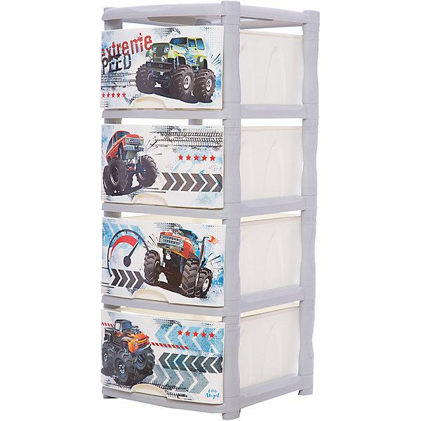 Комод для детской комнаты Little Angel Супер Трак, 4 ящикаКомоды пластиковые<br>Характеристики:<br><br>• принт: Супер Трак<br>• материал: полипропилен<br>• количество ящиков: 4<br>• размер комода: 48х41х94,5 см.<br>• вес: 5,173 кг.<br><br>Комод «Супер Трак» имеет компактный размер и повышенную вместимость за счет глубоких ящиков. Каркас комода супер устойчивый. Ящики легко выдвигаются и надежно держатся на каркасе. Спокойные пастельные цвета комода станут прекрасным дополнением для детской комнаты.<br><br>Конструкция комода безопасна даже для самых активных малышей. Комод имеет сглаженные углы, изготовлен из экологически чистого материала, гипоаллергенен. Материал комода стоек к воздействию воды и прямых солнечных лучей. Изделие имеет небольшой вес, благодаря чему его легко можно переставлять с места на место.<br><br>Комод состоит из нескольких частей, которые без труда скрепляются между собой, что позволяет легко собирать и разбирать изделие.<br><br>Детский комод Супер Трак 4 ящика можно купить в нашем интернет-магазине.<br>Ширина мм: 500; Глубина мм: 415; Высота мм: 555; Вес г: 5173; Возраст от месяцев: 36; Возраст до месяцев: 84; Пол: Унисекс; Возраст: Детский; SKU: 7196251;