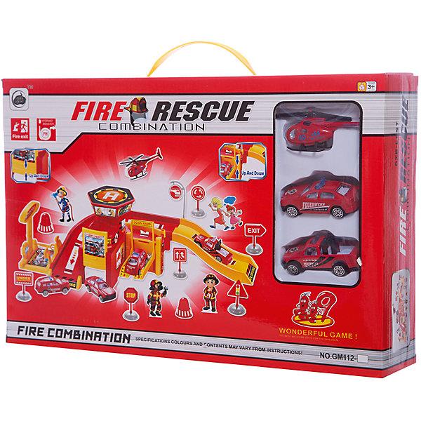 Shantou Gepai Парковка Пожарная служба 2 уровня + машины и вертолет