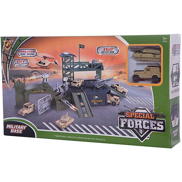 Парковка Shantou Gepai Военная база + 2 машиныПарковки и гаражи<br>Характеристики:<br><br>• тип игрушки: паркинг;<br>• возраст: от 3 лет;<br>• упаковка: пластик;<br>• размер: 42х7х24 см;<br>• вес: 571 гр;<br>• бренд: Shantou Gepai. <br><br>Паркинг «Военная база», 2 машины - это настоящий боевой пункт, где предусмотрено все для проведения успешной военной операции. Из деталей набора ребенок соберет паркинг с удобными заездами для техники, установит огнестрельные орудия и построит башню, на которую водрузит свой флаг. В наборе - танк с поворачивающейся башней и машинка.<br><br>Ребенок придет в восторг от такого набора. Игрушка отлично подходит в виде подарка для детей от трех лет и старше.<br><br>Паркинг «Военная база», 2 машины можно купить в нашем интернет-магазине.<br>Ширина мм: 420; Глубина мм: 70; Высота мм: 240; Вес г: 571; Возраст от месяцев: 36; Возраст до месяцев: 2147483647; Пол: Мужской; Возраст: Детский; SKU: 7196505;