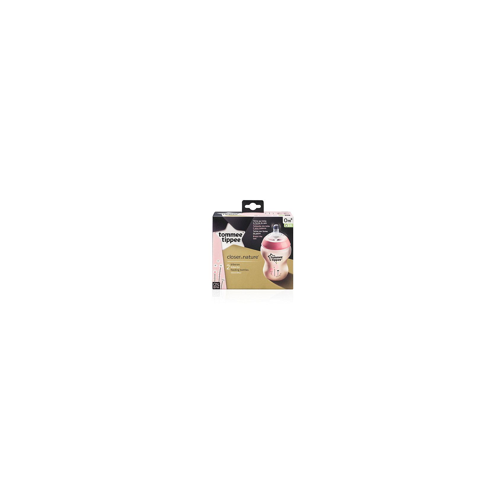 Бутылочки для кормления Tommee Tippee Closer To Nature с антиколиковым клапаном 2 шт., 260 мл, розовые