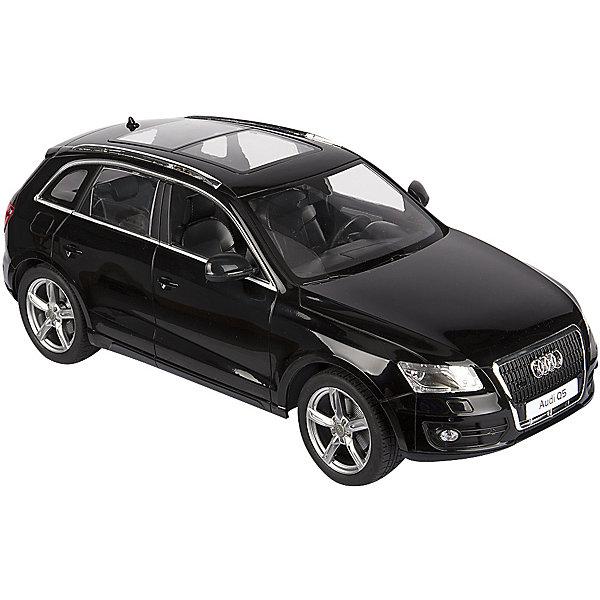 Радиоуправляемая машина Rastar Audi Q5, 1:14 (черная)Радиоуправляемые машины<br>Характеристики:<br><br>• радиоуправляемая машинка на пульте управления;<br>• частота 27MHz;<br>• радиус действия пульта: до 45 м;<br>• время непрерывной работы: 45 минут;<br>• независимая система подвески;<br>• движение вперед-назад, повороты вправо-влево;<br>• во время движения светятся фары;<br>• скорость движения: 12 км/ч;<br>• масштаб: 1:14;<br>• тип батареек: 5 шт. типа АА (автомобиль) + 1 шт. типа крона 9V (пульт управления);<br>• батарейки приобретаются отдельно;<br>• материал: металл, пластик, резина;<br>• длина машинки: 35 см;<br>• размер упаковки: 46х22х20 см; <br>• вес в упаковке: 1,5 кг.<br><br>Радиоуправляемая машинка Rastar Audi разгоняется до скорости 12 км/ч, может ехать влево, вправо, вперед и назад. Пульт управления позволяет задать желаемое направление движения, кнопки выполнены в виде стрелочек. Радиус действия пульта составляет 45 м. Автомобиль со светом заметно в темное время суток: полноценные фары светятся во время движения машинки. В процессе игры с автомобилем Ауди развивается координация движений, реакция, маневренность.<br><br>Машину р/у Rastar Audi Q5 1:14, со светом, цвет черный можно купить в нашем интернет-магазине.<br>Ширина мм: 460; Глубина мм: 220; Высота мм: 200; Вес г: 1500; Возраст от месяцев: 96; Возраст до месяцев: 144; Пол: Мужской; Возраст: Детский; SKU: 7196975;