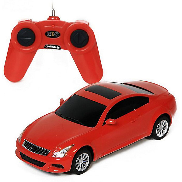 Радиоуправляемая машина Rastar Infiniti G37 Coupe, 1:24 (красная)Радиоуправляемые машины<br>Характеристики:<br><br>• радиоуправляемая машинка на пульте управления;<br>• частота 27MHz;<br>• радиус действия пульта: 15-45 м;<br>• время непрерывной работы: 45 минут;<br>• независимая система подвески;<br>• движение вперед-назад, повороты вправо-влево;<br>• во время движения светятся фары;<br>• скорость движения: 9 км/ч;<br>• масштаб: 1:24;<br>• тип батареек: 5 шт. типа АА (пульт и автомобиль);<br>• батарейки приобретаются отдельно;<br>• материал: металл, пластик, резина;<br>• размер машинки: 21х8х7 см;<br>• вес машинки: 210 г;<br>• размер упаковки: 27х13х11 см; <br>• вес в упаковке: 460 г.<br><br>Радиоуправляемая машинка Rastar Infiniti разгоняется до скорости 9 км/ч, может ехать влево, вправо, вперед и назад. Пульт управления позволяет задать желаемое направление движения, кнопки выполнены в виде стрелочек. Радиус действия пульта составляет 15-45 м. Автомобиль со светом заметно в темное время суток: полноценные фары светятся во время движения машинки. В процессе игры с автомобилем Инфинити развивается координация движений, реакция, маневренность.<br><br>Машину р/у Rastar Infiniti G37 coupe 1:24, со светом, цвет красный можно купить в нашем интернет-магазине.<br>Ширина мм: 270; Глубина мм: 130; Высота мм: 110; Вес г: 460; Возраст от месяцев: 36; Возраст до месяцев: 84; Пол: Мужской; Возраст: Детский; SKU: 7196981;