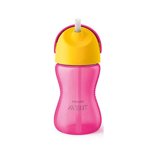 PHILIPS AVENT Чашка-поильник с трубочкой Philips Avent, 300 мл, розовый/желтый бутылочки philips avent classic с рисунком 260 мл
