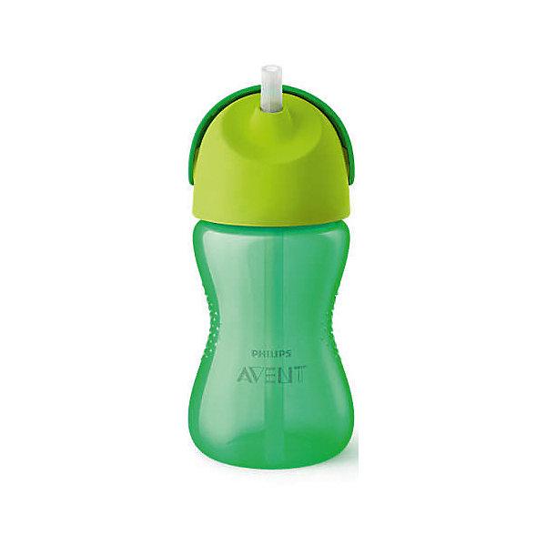 PHILIPS AVENT Чашка-поильник с трубочкой Philips Avent, 300 мл, зеленый чашка с трубочкой philips avent для мальчика с 12 мес 300 мл