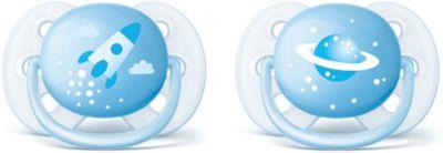 Силиконовая-пустышка Philips Avent, 0-6 мес, 2шт., голубая, артикул:7197094 - Уход и гигиена