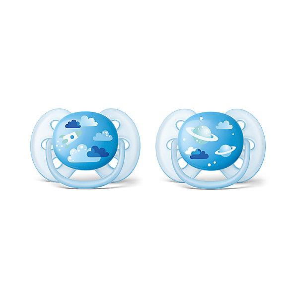 PHILIPS AVENT Силиконовая-пустышка Philips Avent, 6-18 мес, 2шт., голубая пустышка силиконовая avent i love milk scf172 50 0 6 мес 2шт голубая белая