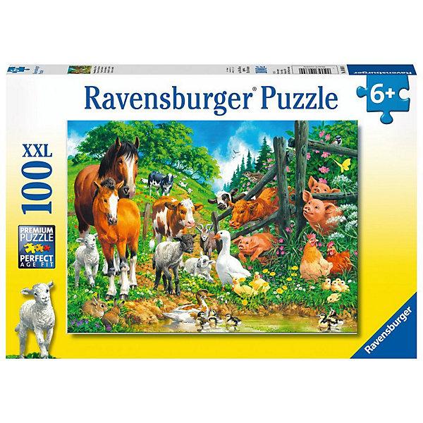Купить Пазл Ravensburger XXL: встреча животных , 100 элементов, Германия, Унисекс