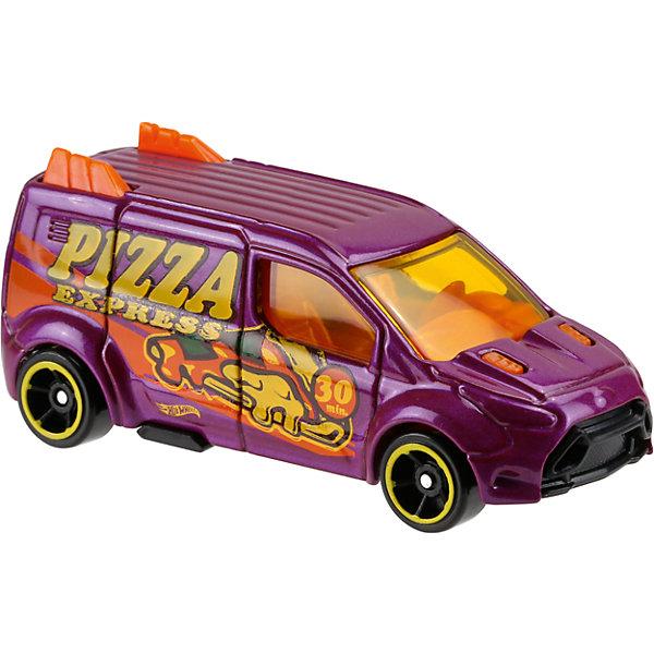 Базовая машинка Hot Wheels, Ford Transit ConnectМашинки<br>Характеристики:<br><br>• возраст: от 3 лет;<br>• тип игрушки: минивэн;<br>• цвет: фиолетовый;<br>• особенности: инерционная;<br>• материал: пластик, металл; <br>• размер: 11х4,5х11 см;<br>• вес: 30 гр;<br>• страна бренда: США;<br>• страна производитель: Китай;<br>• тип упаковки: блистер на картоне;<br>• эффекты: без эффектов.<br><br><br>Машинка Hot Wheels Ford Transit Connect бренда Mattel представляет собой минивэн, который станет достойным пополнением автопарка  мальчика. Легендарная серия коллекционных машинок завоевала внимание всех детей. Быстрые и красочные  машинки Hot Wheels выглядят очень ярко и эффектно благодаря оригинальному дизайну. Они выполнены из металла и пластика, что гарантирует прочность и устойчивость к столкновениям. <br><br>Машинка раскрашена в фиолетовый цвет с ярким принтом – авто предназначено для доставки пиццы. Автомобиль создан из проверенных и безопасных материалов. Его особенность - рифленая крыша, выступы по бокам в виде акульего хвоста, прозрачные стекла. Можно рассмотреть салон. Быстрые черные колеса автомобиля имеют желтые диски. Игрушка выполнена из безопасных и нетоксичных материалов.<br><br>Стильная игрушка станет отличным подарком для ребенка от трех лет. Кроме того, малыш сможет собрать целую коллекцию этих популярных машинок и обмениваться ими с друзьями. Машинка Hot Wheels Ford Transit Connect во время гонки не оставит равнодушным ни одного мальчика. <br><br>Машинку Hot Wheels Ford Transit Connect можно купить в нашем интернет-магазине.<br>Ширина мм: 110; Глубина мм: 45; Высота мм: 110; Вес г: 30; Возраст от месяцев: 36; Возраст до месяцев: 96; Пол: Мужской; Возраст: Детский; SKU: 7198130;