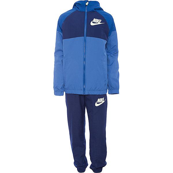 Спортивный костюм NIKEСпортивная одежда<br>Характеристики товара:<br><br>• цвет: синий<br>• комплектация: тенниска, брюки<br>• состав ткани: 100% полиэстер<br>• длинные рукава<br>• застежка: молния<br>• пояс: резинка и шнурок<br>• особенности модели: спортивный стиль<br>• сезон: демисезон<br>• страна бренда: США<br>• страна изготовитель: Малайзия<br><br>Спортивный костюм Nike - комфортная и качественная одежда для отдыха и занятий спортом. Курточка из спортивного комплекта для детей дополнена капюшоном и карманами. Спортивный костюм Найк не стесняет движения ребенка.<br><br>Спортивный костюм Nike (Найк) можно купить в нашем интернет-магазине.<br>Ширина мм: 247; Глубина мм: 16; Высота мм: 140; Вес г: 225; Цвет: синий; Возраст от месяцев: 84; Возраст до месяцев: 96; Пол: Унисекс; Возраст: Детский; Размер: 122/128,158/170,146/158,134/140,128/134; SKU: 7198700;