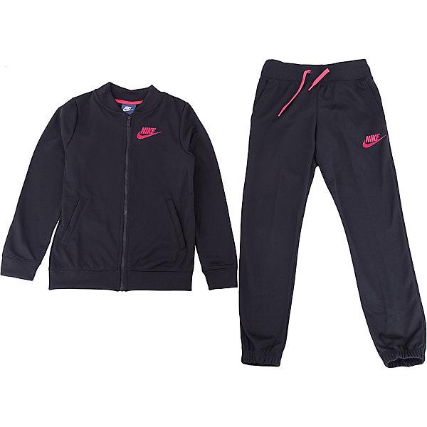 Спортивный костюм NIKEСпортивные костюмы<br>Характеристики товара:<br><br>• цвет: черный<br>• комплектация: тенниска, брюки<br>• состав ткани: 100% полиэстер<br>• длинные рукава<br>• застежка: молния<br>• пояс: резинка и шнурок<br>• особенности модели: спортивный стиль<br>• сезон: демисезон<br>• страна бренда: США<br>• страна изготовитель: Малайзия<br><br>Спортивный костюм Nike - комфортная и качественная одежда для отдыха и занятий спортом. Курточка из спортивного комплекта для детей дополнена карманами. Спортивный костюм Найк не стесняет движения ребенка и отлично подойдет для занятий спортом.<br><br>Спортивный костюм Nike (Найк) можно купить в нашем интернет-магазине.<br>Ширина мм: 247; Глубина мм: 16; Высота мм: 140; Вес г: 225; Цвет: черный; Возраст от месяцев: 168; Возраст до месяцев: 180; Пол: Унисекс; Возраст: Детский; Размер: 158/170,146/158,134/140,128/134,122/128; SKU: 7198706;