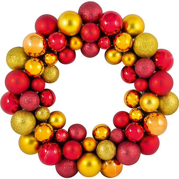 Купить Новогодний венок из шариков Magic Land, 33 см (красный, золотой), Волшебная Страна, Китай, Унисекс