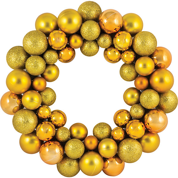 цена Волшебная Страна Новогодний венок из шариков Magic Land, 33 см (желтый) онлайн в 2017 году