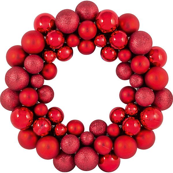 Купить Новогодний венок из шариков Magic Land, 33 см (красный), Волшебная Страна, Китай, Унисекс