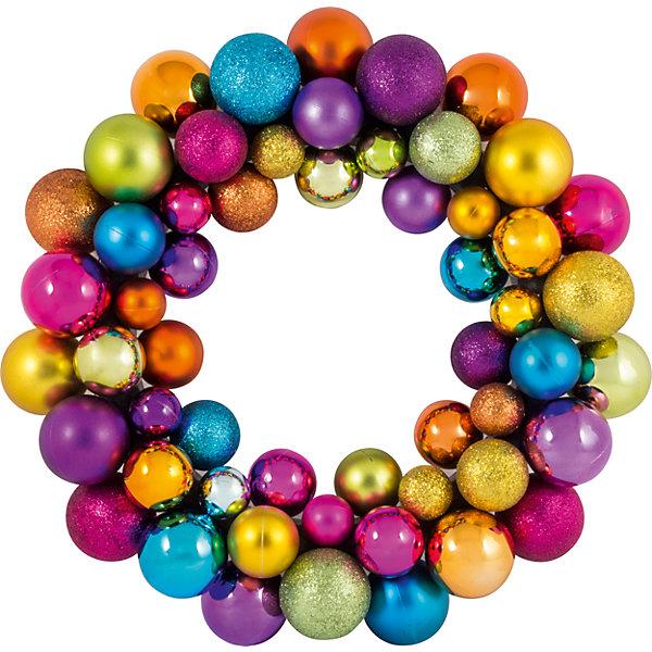 Волшебная Страна Новогодний венок из шариков Magic Land, 33 см (разноцветный) волшебная страна новогодний венок из шариков magic land 33 см красный золотой