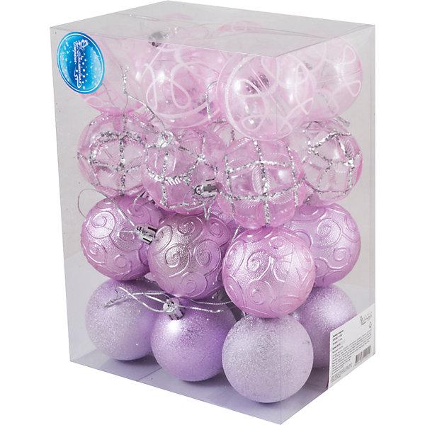 Волшебная Страна Набор шаров Magic Land 24 шт, 8 см snowlife набор из 4х шаров 8 см диам стекло 50378