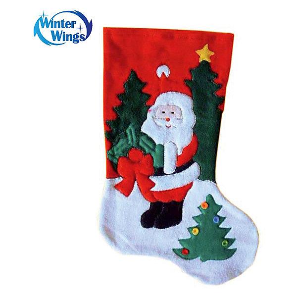 Носок для подарков Winter Wings Дед Мороз, 40 смНовогодние носки<br>Характеристики товара:<br><br>• возраст: от 3 лет;<br>• упаковка: пакет;<br>• цвет:  красный;<br>• высота: 40 см.;<br>• состав: полиэстер;<br>• бренд, страна бренда: Winter Wings (Винтер Вингс), Канада;<br>• страна-производитель: Китай.<br><br>Носок для подарков «Дед Мороз» от торговой марки Winter Wings - новогоднее украшение прекрасно подойдет для праздничного декора дома и новогодней ели. А также в качестве оригинальной упаковки для подарка на Новый год, что позволит создать интригу радости и сюрприза для ваших родных и близких.<br><br>Носок для подарков «Дед Мороз» выполнен в форме носочка красного цвета и декорирован изображением Деда мороза, изготовлен из плотного и качественного материала, дополнен крючком.<br><br>Компания  Winter Wings  - настоящий эксперт в оригинальных качественных новогодних украшениях, один из самых широких новогодних ассортиментов на российском рынке.<br><br>Носок для подарков «Дед Мороз», 1 шт., 40 см., Winter Wings  можно купить в нашем интернет-магазине.<br>Ширина мм: 400; Глубина мм: 200; Высота мм: 20; Вес г: 54; Возраст от месяцев: 36; Возраст до месяцев: 2147483647; Пол: Унисекс; Возраст: Детский; SKU: 7220689;