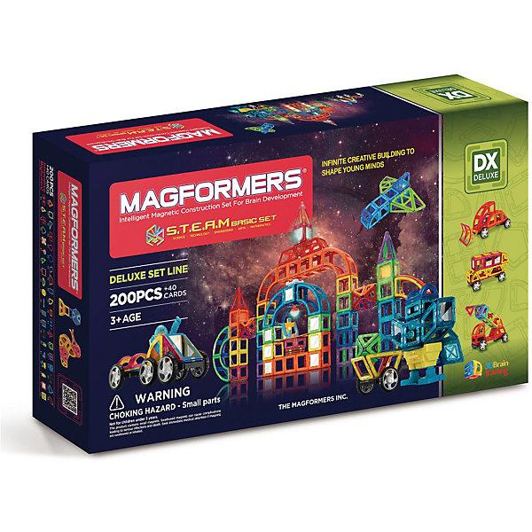 Магнитный конструктор Magformers S.T.E.A.M. BasicМагнитные конструкторы<br>Характеристики товара:<br><br>• возраст: от 3 лет;<br>• материал: пластик;<br>• в комплекте: 240 элементов, инструкция;<br>• размер упаковки: 74,5х41,5х13,5 см;<br>• вес упаковки: 6,175 кг;<br>• страна производитель: Корея.<br><br>Магнитный конструктор Magformers STEAM Basic позволит детям построить из элементов невероятно сложные механизмы. Удивительная особенность данного конструктора состоит в том, что детали конструктора надежно и крепко соединяются между собой благодаря магнитам. Магниты внутри деталей уже сделаны таким образом, что позволяют элементам присоединяться и поворачиваться друг к другу нужной стороной.<br><br>В набор входят такие уникальные детали как вращающиеся колеса, звуковые блоки для записи сигнала, светящаяся светодиодная сфера. Конструктор развивает у детей пространственное и логическое мышление, мелкую моторику рук, воображение и фантазию. Помимо этого, в процессе игры ребенок знакомится с основными геометрическими фигурами. Элементы выполнены из прочного качественного пластика.<br><br>Магнитный конструктор Magformers STEAM Basic можно приобрести в нашем интернет-магазине.<br>Ширина мм: 415; Глубина мм: 745; Высота мм: 135; Вес г: 6175; Возраст от месяцев: 36; Возраст до месяцев: 168; Пол: Унисекс; Возраст: Детский; SKU: 7221173;