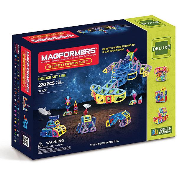Магнитный конструктор Magformers Super Brain Up setМагнитные конструкторы<br>Характеристики товара:<br><br>• возраст: от 3 лет;<br>• материал: пластик;<br>• в комплекте: 220 элементов, 36 аксессуаров, 2 фигурки, инструкция;<br>• размер упаковки: 75х54х15 см;<br>• вес упаковки: 6,3 кг;<br>• страна производитель: Корея.<br><br>Магнитный конструктор Magformers Super Brain Up set позволит детям построить из элементов невероятно сложные механизмы. Удивительная особенность данного конструктора состоит в том, что детали конструктора надежно и крепко соединяются между собой благодаря магнитам. Магниты внутри деталей уже сделаны таким образом, что позволяют элементам присоединяться и поворачиваться друг к другу нужной стороной.<br><br>В набор входят такие уникальные детали как подставка для конструирования колеса обозрения, рычаги, шарниры, колеса для машин, пропеллеры, пушки, космическая антенна и многое другое. Конструктор развивает у детей пространственное и логическое мышление, мелкую моторику рук, воображение и фантазию. Помимо этого, в процессе игры ребенок знакомится с основными геометрическими фигурами. Элементы выполнены из прочного качественного пластика.<br><br>Магнитный конструктор Magformers Super Brain Up set можно приобрести в нашем интернет-магазине.<br>Ширина мм: 540; Глубина мм: 750; Высота мм: 150; Вес г: 6300; Возраст от месяцев: 36; Возраст до месяцев: 168; Пол: Унисекс; Возраст: Детский; SKU: 7221179;